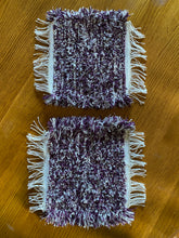 "Load image into Gallery viewer, Handwoven Mini Mat/Hot Pad Purple Variegated 9""x11"""