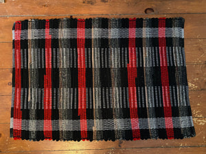 "Handwoven Wool Rug Red Black Grey 23""W x 34""L"
