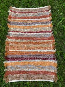 "Handwoven Rug Fall Colors 20""W x 30""L"