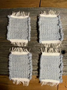 Handwoven Mug Rugs Grey polar Fleece Set-4