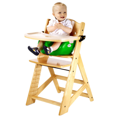Keekaroo Height Right™ High Chair Natural Color with Infant Insert & Tray (Lime Color)