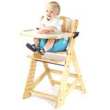 Keekaroo Height Right™ High Chair Natural Color with Infant Insert & Tray (Aqua Color) - Baby Strollers Place