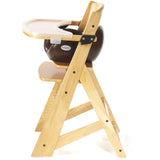 Keekaroo Height Right™ High Chair Natural Color with Infant Insert & Tray (Chocolate Color)