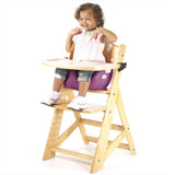 Keekaroo Height Right™ High Chair Natural Color with Infant Insert & Tray (Raspberry Color)