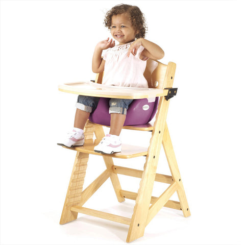 Keekaroo Height Right™ High Chair Natural Color with Infant Insert & Tray (Raspberry Color) - Baby Strollers Place