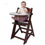 Keekaroo Height Right™ Mahogany High Chair with Infant Insert, Tray and Tray Cover (Raspberry Color)