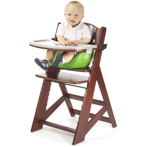 Keekaroo Height Right™ Mahogany High Chair with Infant Insert, Tray and Tray Cover (Lime Color)