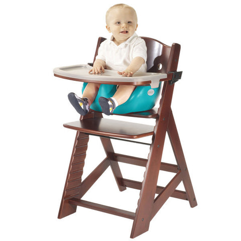 Keekaroo Height Right™ Mahogany High Chair with Infant Insert, Tray and Tray Cover (Aqua Color)