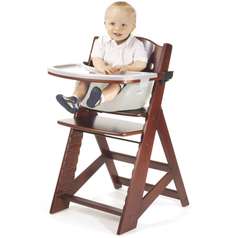 Keekaroo Height Right™ Mahogany High Chair with Infant Insert, Tray and Tray Cover (Vanilla Color) - Baby Strollers Place