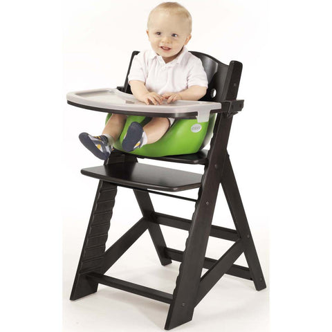 Keekaroo Height Right™ High Chair Espresso Color with Infant Insert & Tray (Lime Color) - Baby Strollers Place