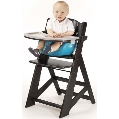 Keekaroo Height Right™ High Chair Espresso Color with Infant Insert & Tray (Aqua Color) | 0051424KR-0001
