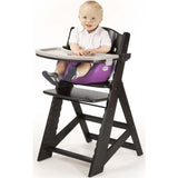 Keekaroo Height Right™ High Chair Espresso Color with Infant Insert & Tray (Raspberry Color) - Baby Strollers Place