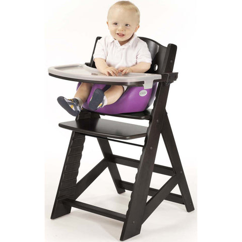 Keekaroo Height Right™ High Chair Espresso Color with Infant Insert & Tray (Raspberry Color) | 0051428KR-0001