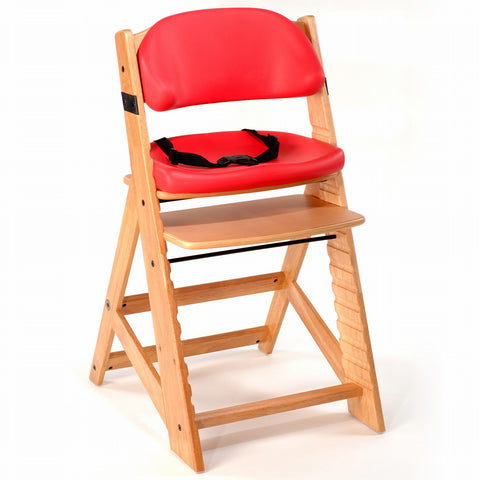Keekaroo Height Right™ Kids Chair Natural Color with Comfort Cushion Set (Cherry Color)