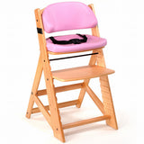 Keekaroo Height Right™ Kids Chair Natural Color with Comfort Cushion Set (Raspberry Color)