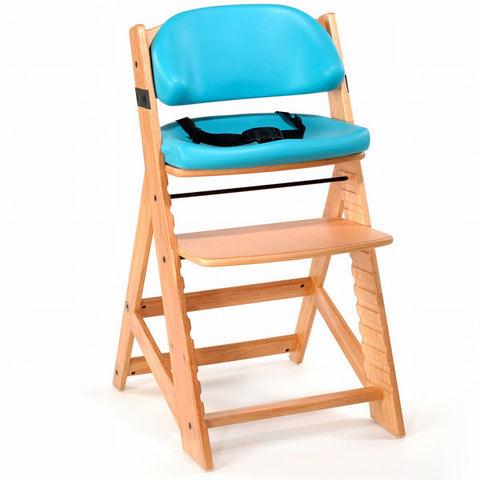 Keekaroo Height Right™ Kids Chair Natural Coor with Comfort Cushion Set (Aqua Color) - Baby Strollers Place