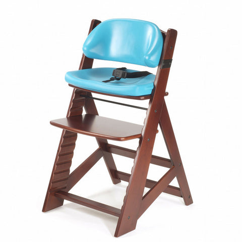 Keekaroo Height Right™ Mahogany Kids Chair with Comfort Cushion Set (Aqua Color)