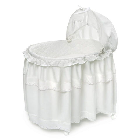 Badger Basket White Batiste Long Skirt Portable Bassinet & Cradle with Toybox Base