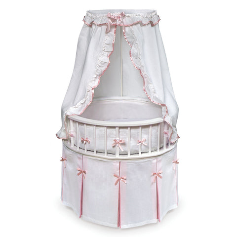 Badger Basket White Elegance Round Baby Bassinet with White Waffle & Pink Bedding