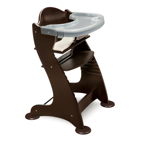 Badger Basket Embassy Adjustable Wood High Chair, Espresso - Baby Strollers Place