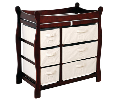 Badger Basket Sleigh Style Changing Table with Six Baskets, Cherry - Baby Strollers Place