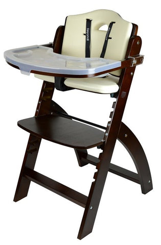 Abiie Beyond Junior Y Wooden Baby High Chair with Cushion and Tray (Mahogany / White) - Baby Strollers Place