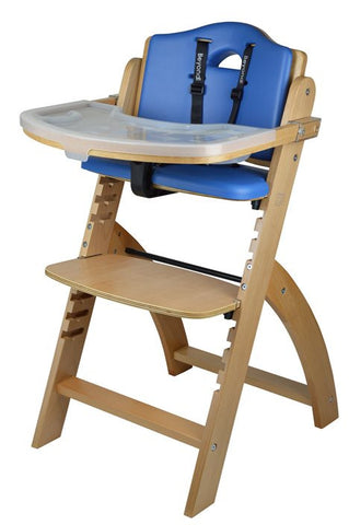 Abiie Beyond Junior Y Wooden Baby High Chair with Tray Table, Natural / Blue