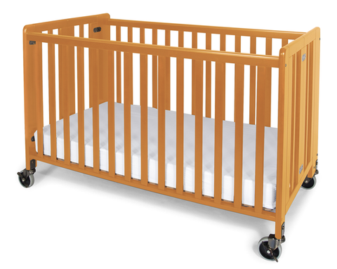Foundations HideAway Easy Roll Compact Fixed-Side Folding Crib, Natural - Baby Strollers Place