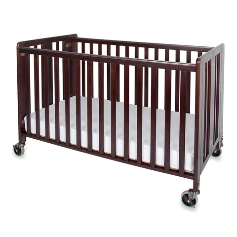Foundations HideAway Easy Roll Compact Fixed-Side Folding Crib, Cherry