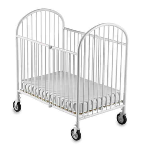 Foundations Pinnacle Compact Steel Folding Crib, White - Baby Strollers Place