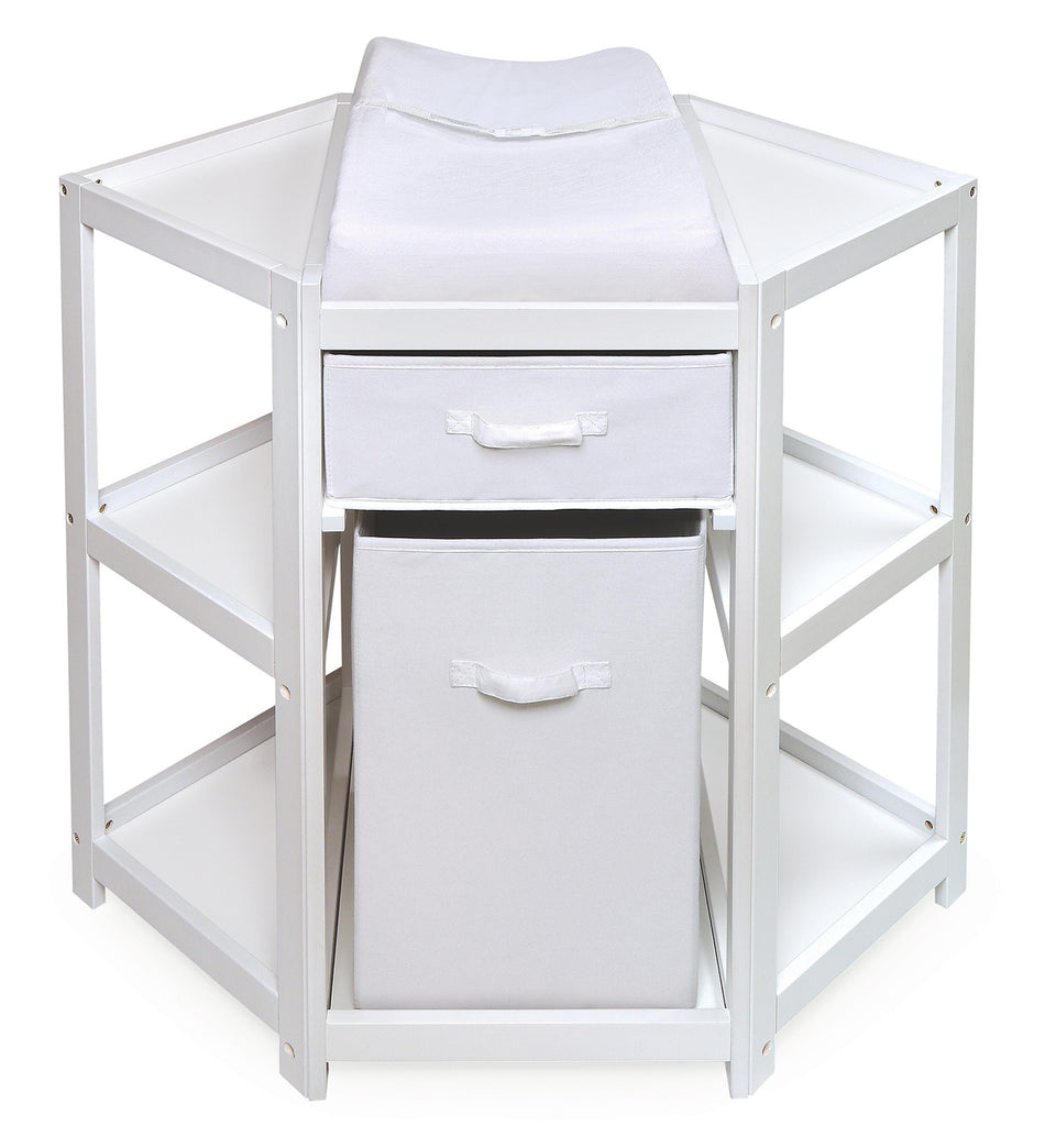 66db39e1ef9 Badger Basket Diaper Corner Baby Changing Table with Hamper and Basket  (White Color)