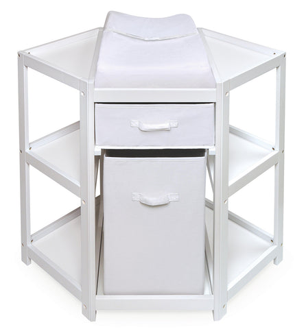Badger Basket Diaper Corner Baby Changing Table with Hamper and Basket (White Color)