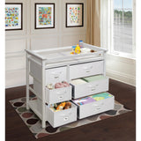 Badger Basket Modern Changing Table with 6 Baskets, White - Baby Strollers Place