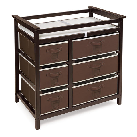 Badger Basket Modern Changing Table with 6 Baskets, Espresso - Baby Strollers Place