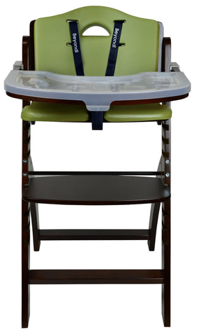 Abiie Beyond Junior Y Wooden Baby High Chair With Cushion And Tray Mahogany Olive