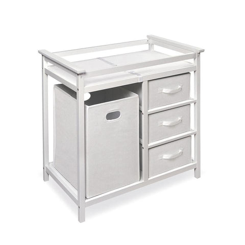 Buy Badger Basket Modern Changing Table with 3 Baskets & Hamper, White