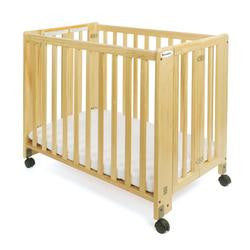 Foundations Full-Size HideAway EasyRoll Folding Fixed-Side Crib, Natural