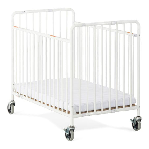 Foundations Compact StowAway EasyRoll Folding Crib, White - Baby Strollers Place
