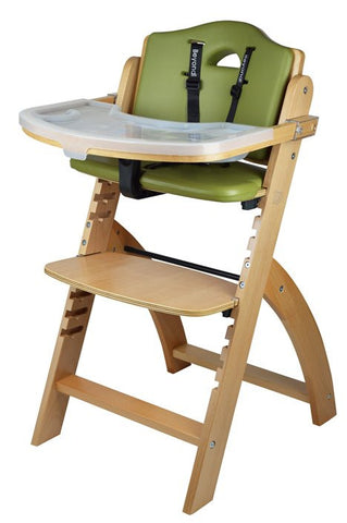 Abiie Beyond Junior Y Wooden Baby High Chair with Cushion and Tray (Natural / Olive Green) - Baby Strollers Place