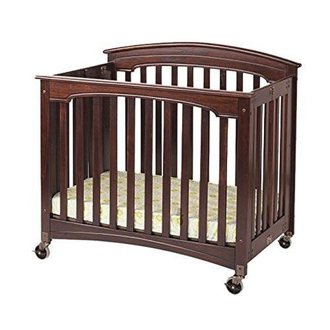 Foundations Royale Compact EasyRoll Fixed-Side Folding Crib, Cherry - Baby Strollers Place