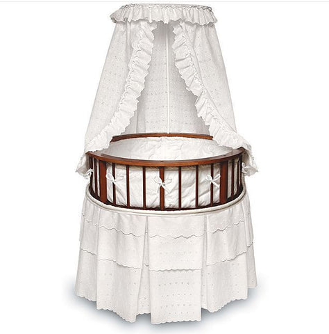Badger Basket Cherry Elegance Round Bassinet with White Eyelet Bedding