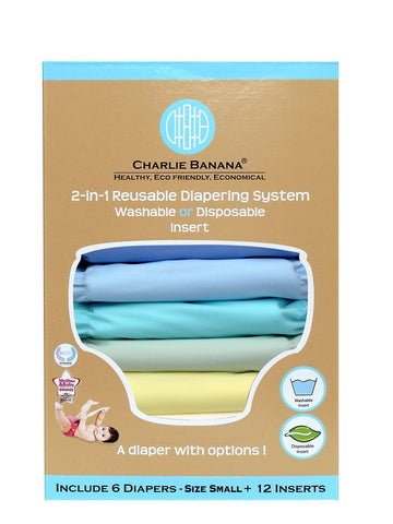 Charlie Banana® 2-in-1 Reusable Cloth Diapers 6 Diapers 12 Inserts Unisex Pastel