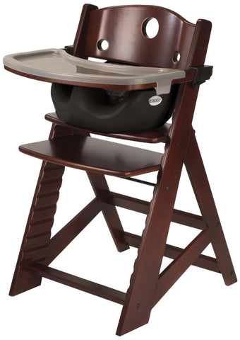 Keekaroo Height Right™ Mahogany High Chair with Infant Insert, Tray and Tray Cover (Black Color) - Baby Strollers Place