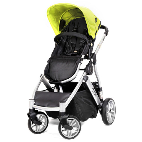 Muv Reis 4-Wheel Stroller in Arctic Silver/Kiwi (Bassinet included)