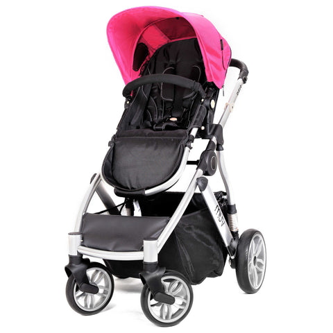 Muv Reis 4-Wheel Stroller in Arctic Silver/Candy (Bassinet included)