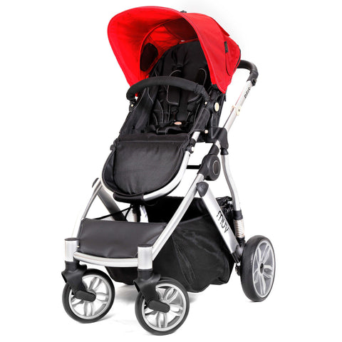 Muv Reis 4-Wheel Stroller in Arctic Silver/Cabernet (Bassinet included)