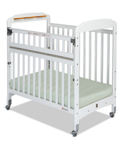 Foundations Serenity® Compact SafeReach™ with Adjustable Mattress Board, Clearview (White Color) - Baby Strollers Place