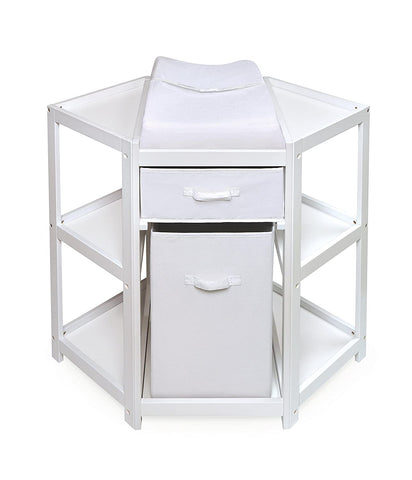 Badger Basket Diaper Corner Changing Table, White | 02205