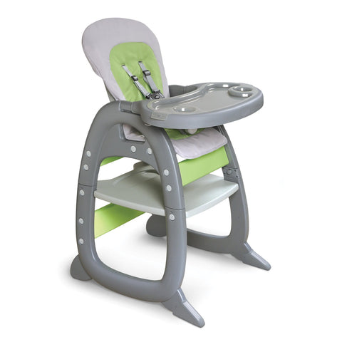 Badger Basket Envee II Baby High Chair with Playtable Conversion, Gray and Green - Baby Strollers Place