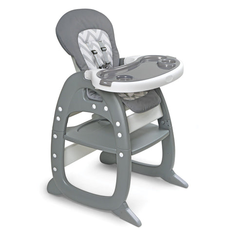Badger Basket Envee II Baby High Chair with Playtable Conversion, Gray and Chevron - Baby Strollers Place